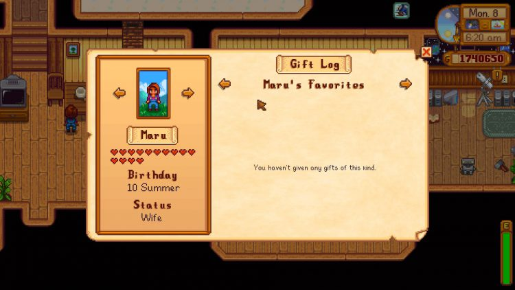 Image showing Maru with 14-Hearts in Stardew Valley.