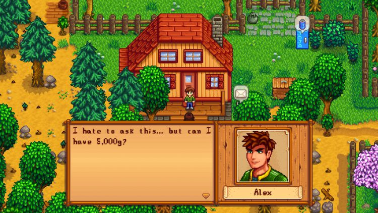 Alex asking for 5,000g as part of his 14-Heart Event in Stardew Valley.