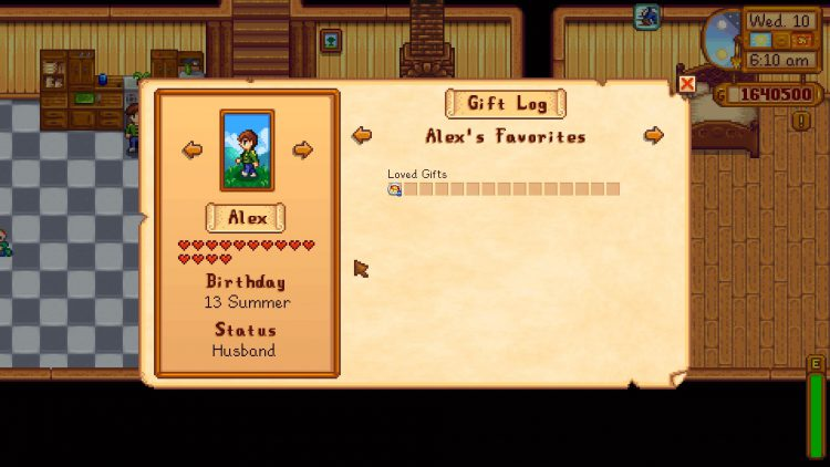 Alex with 14-Hearts in Stardew Valley.