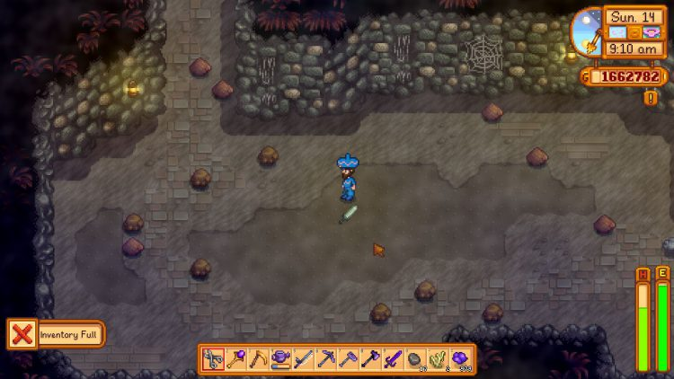 Image showing the Dark Sword dropped in the Quarry Mine in Stardew Valley.