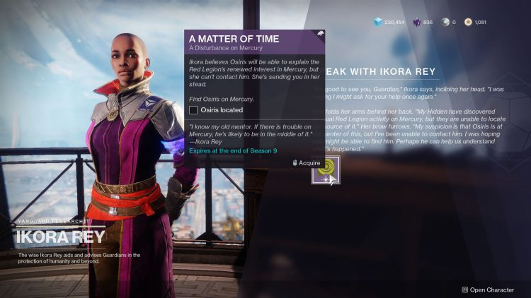 Image showing the start of A Matter of Time in Destiny 2.