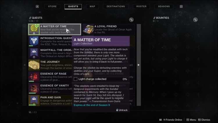 Image showing the Light Collection step in A Matter of Time in Destiny 2.