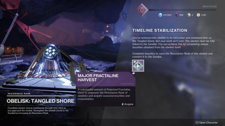 Image showing how to complete the Timeline Stabilization in Destiny 2.