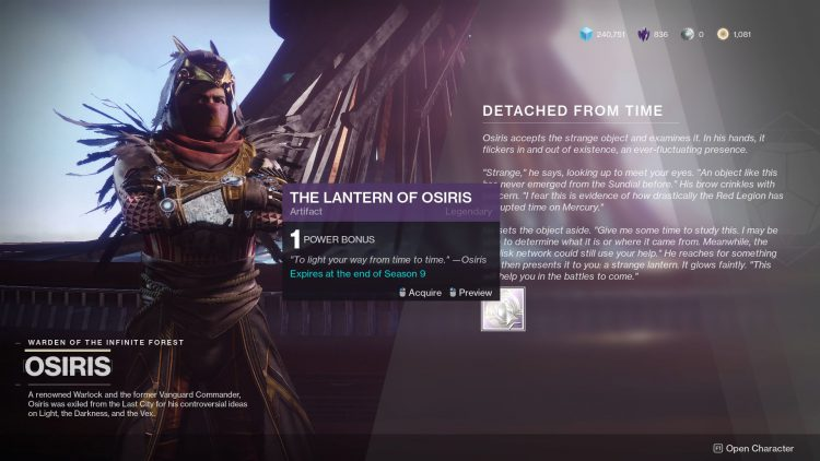 Image showing how to get The Lantern of Osiris in Destiny 2.
