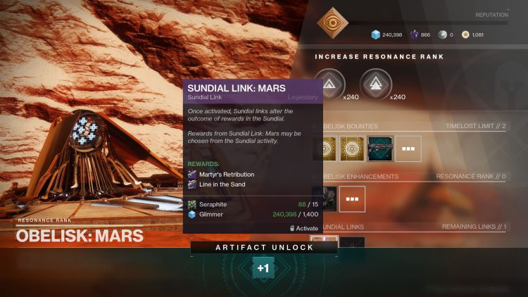 Image showing the Mars Obelisk link rewards in Destiny 2.