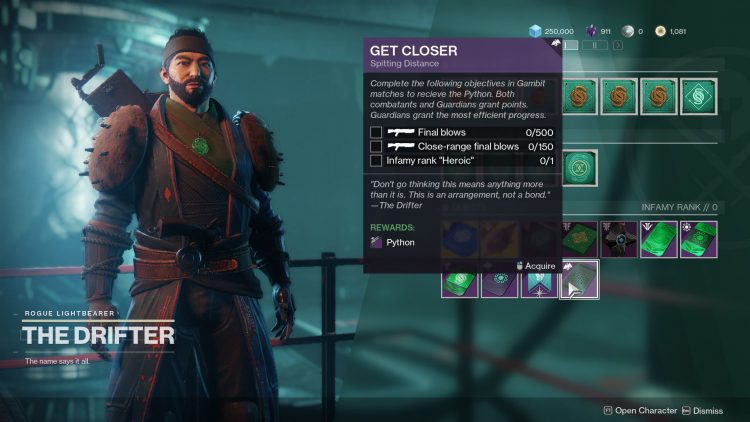 Image showing The Drifter's Get Closer quest in Destiny 2.