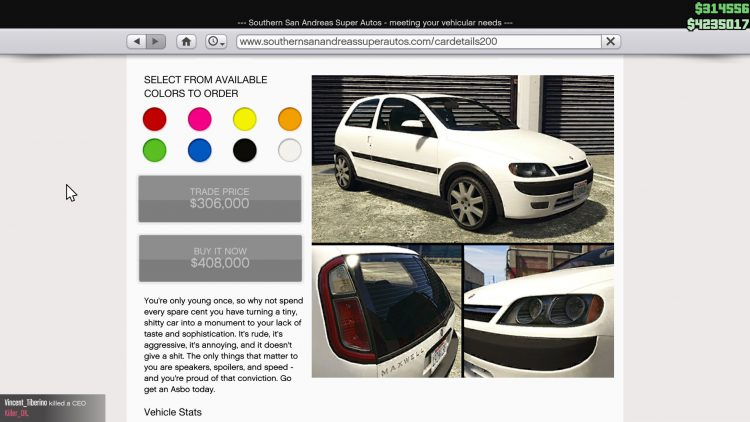 Image showing the Maxwell Asbo in GTA Online.