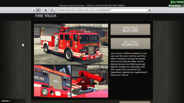 Image showing the Fire Truck in GTA Online.