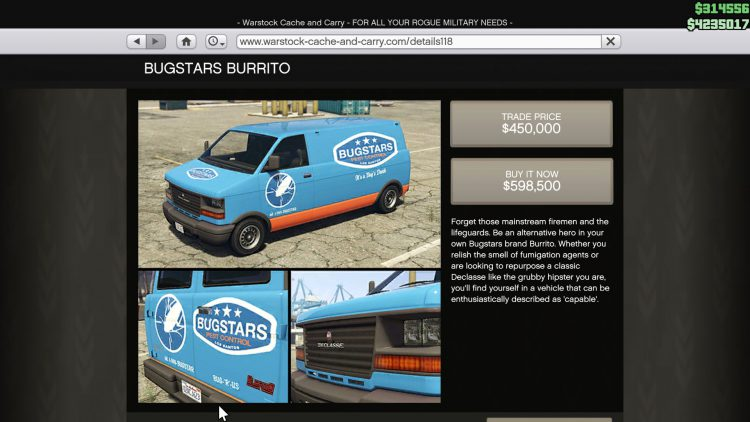Image showing the Bugstar Burrito in GTA Online