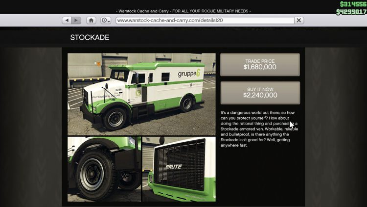Image showing the Stockade in GTA Online.