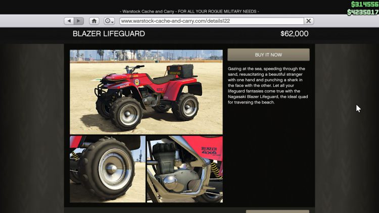 Image showing the Blazer Lifeguard in GTA Online.