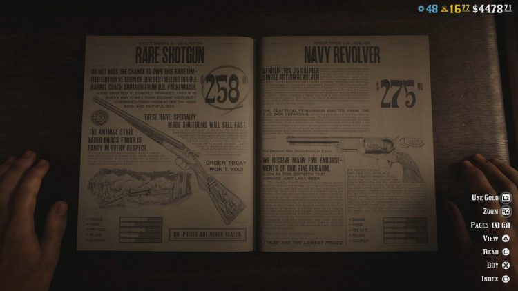 Image showing where to buy the Navy Revolver in Red Dead Redemption Online.