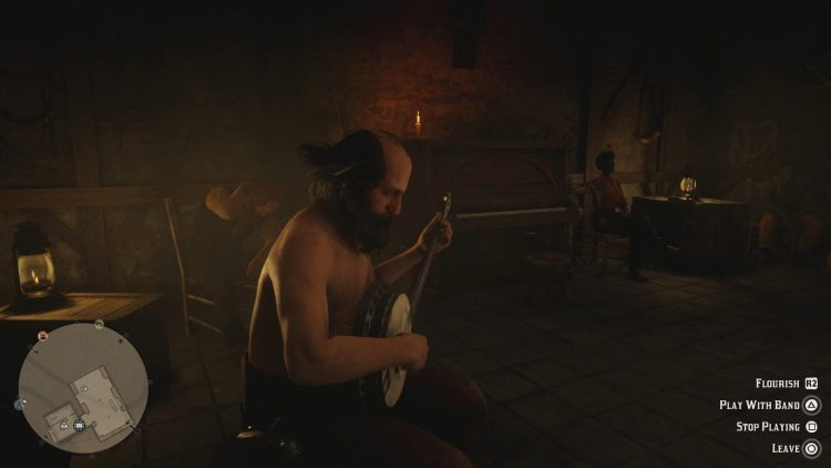 Image showing playing with the band in Red Dead Online.