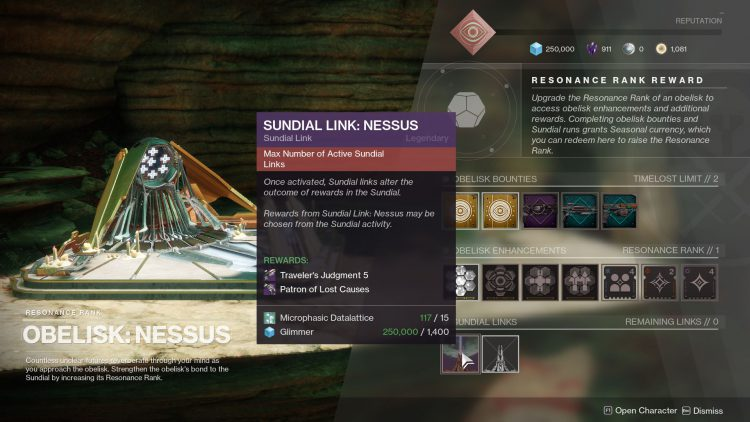 Image showing the Nessus Obelisk Link Rewards.