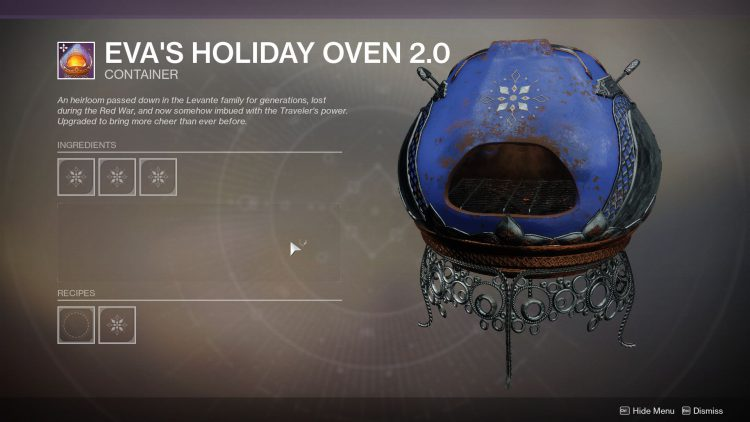Image showing Eva's Holiday Oven 2.0 in Destiny 2.