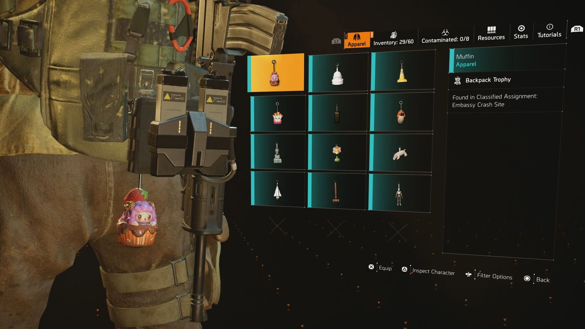 Image showing the Muffin Backpack Trophy in The Division 2.