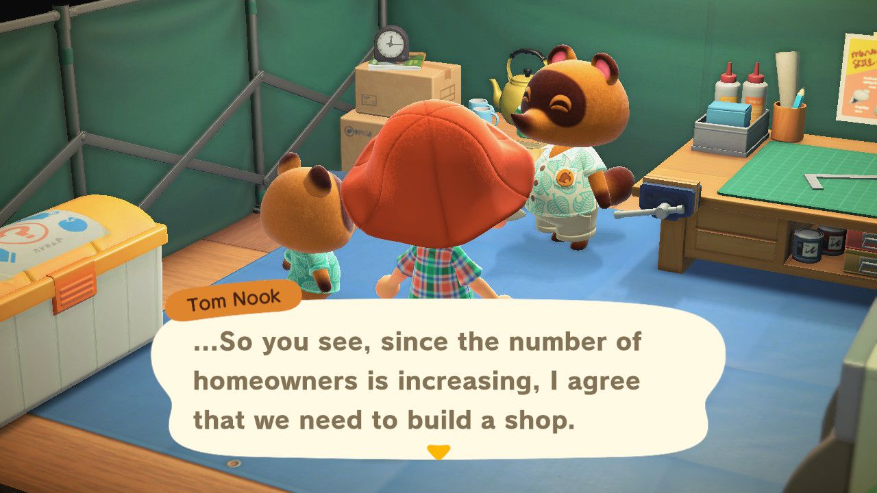 Image showing how to build the shop in Animal Crossing New Horizons.