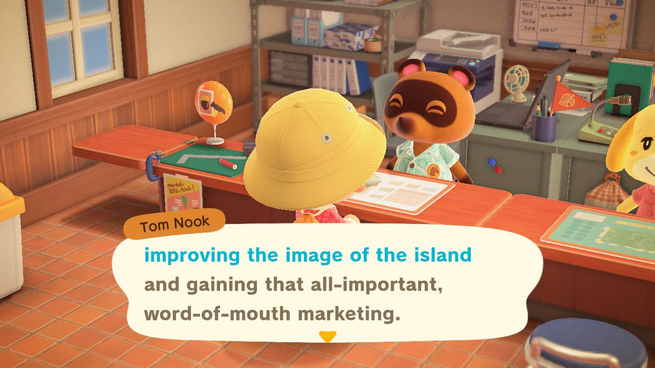 Image showing how to improve the Island's image in Animal Crossing New Horizons.