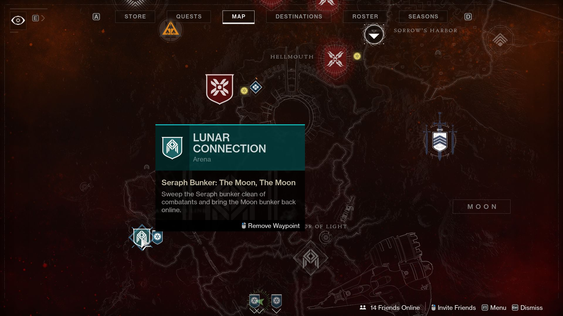 Image showing where to start the Lunar Connection arena mission in Destiny 2.