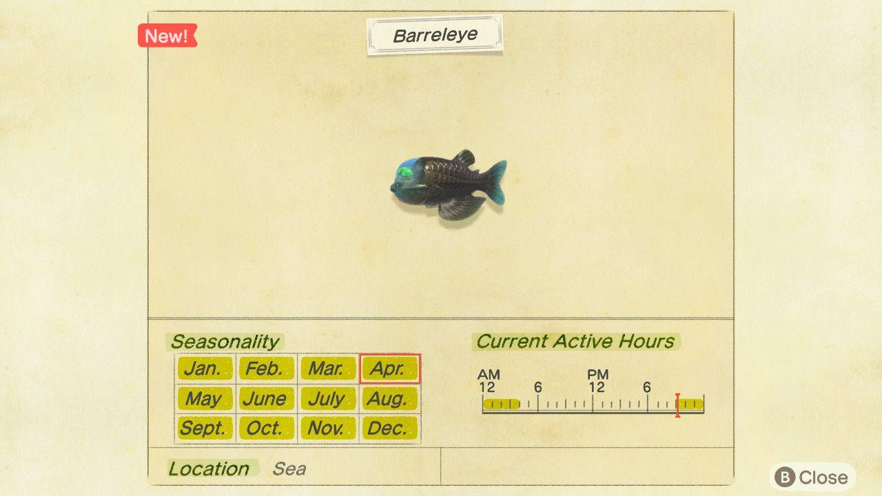 Image showing the Barreleye Critterpedia Information.