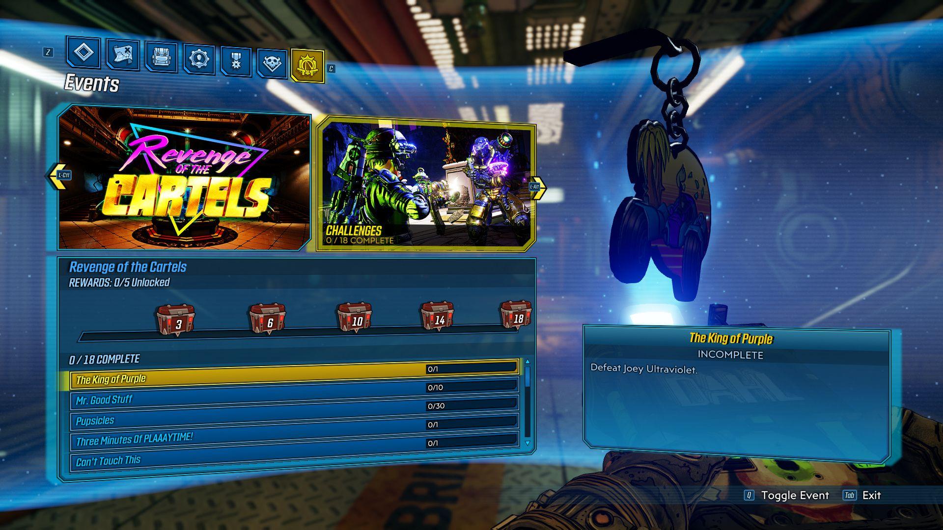 Image showing all 18 Revenge of the Cartels challenges in Borderlands 3.
