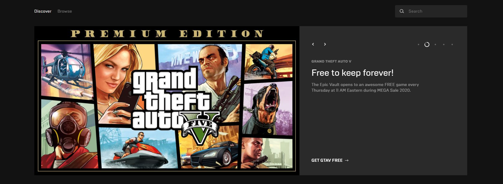 Image showing the GTA V Epic Games free game page.