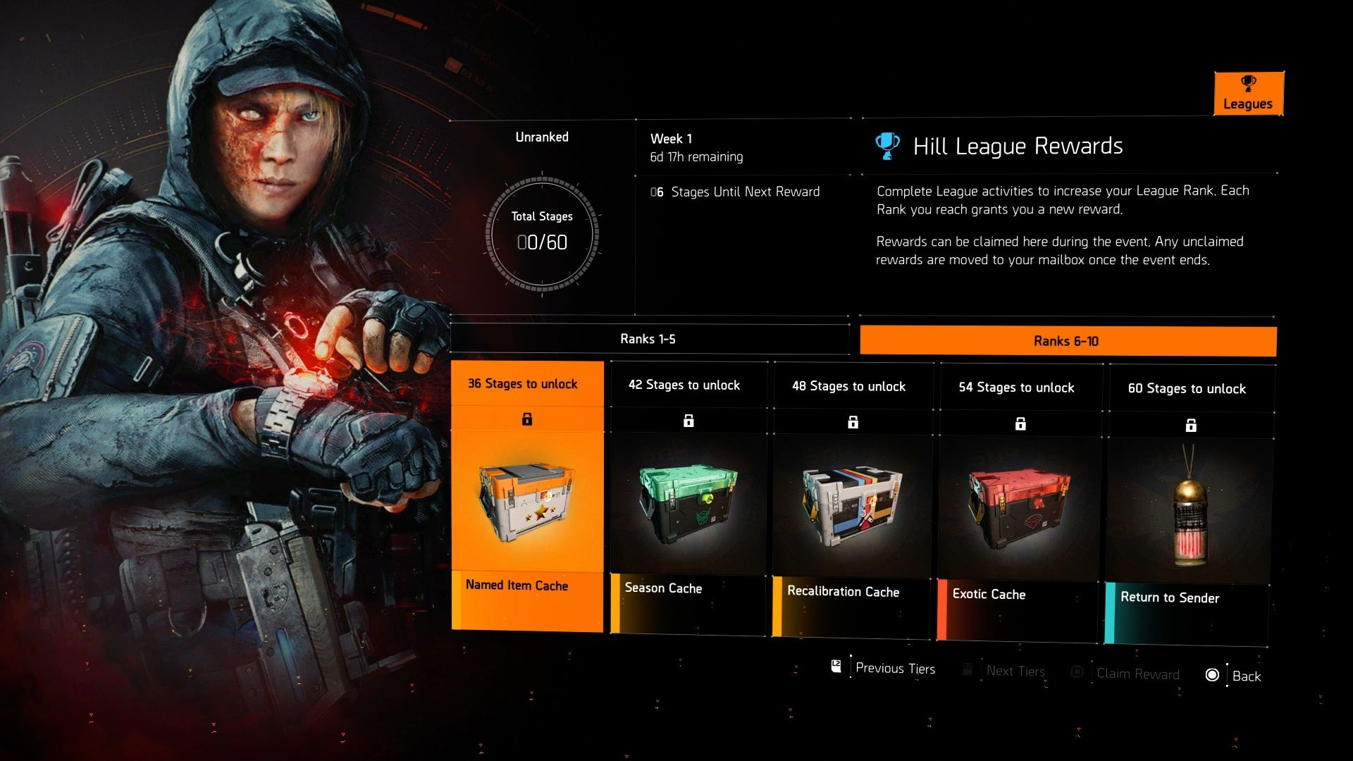 Image showing the Rank 6-10 rewards in The Division 2's Hill League.