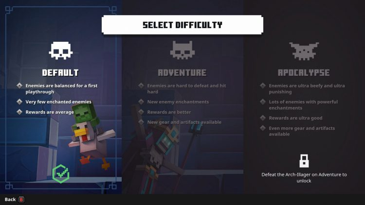 Image showing how to unlock the different modes in Minecraft Dungeons.