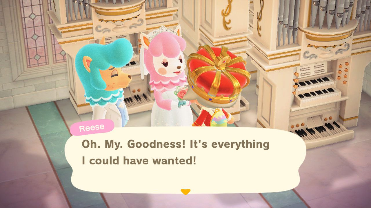 Image showing how to complete the Wedding Event Photo-Shoot in Animal Crossing New Horizons.