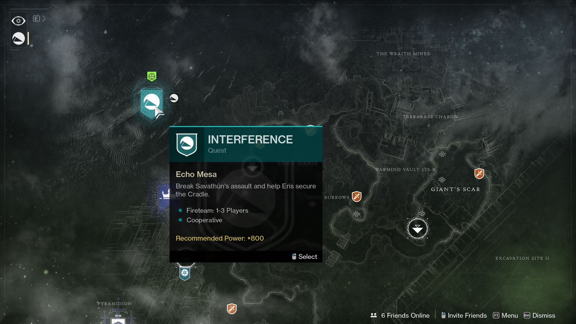 Image showing the map location of the Interference quest in Destiny 2.