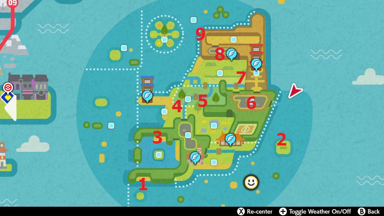 Image showing a map of the locations of the possible Fig Ma spawns in Isle of Armor for Pokemon Sword and Pokemon Shield.