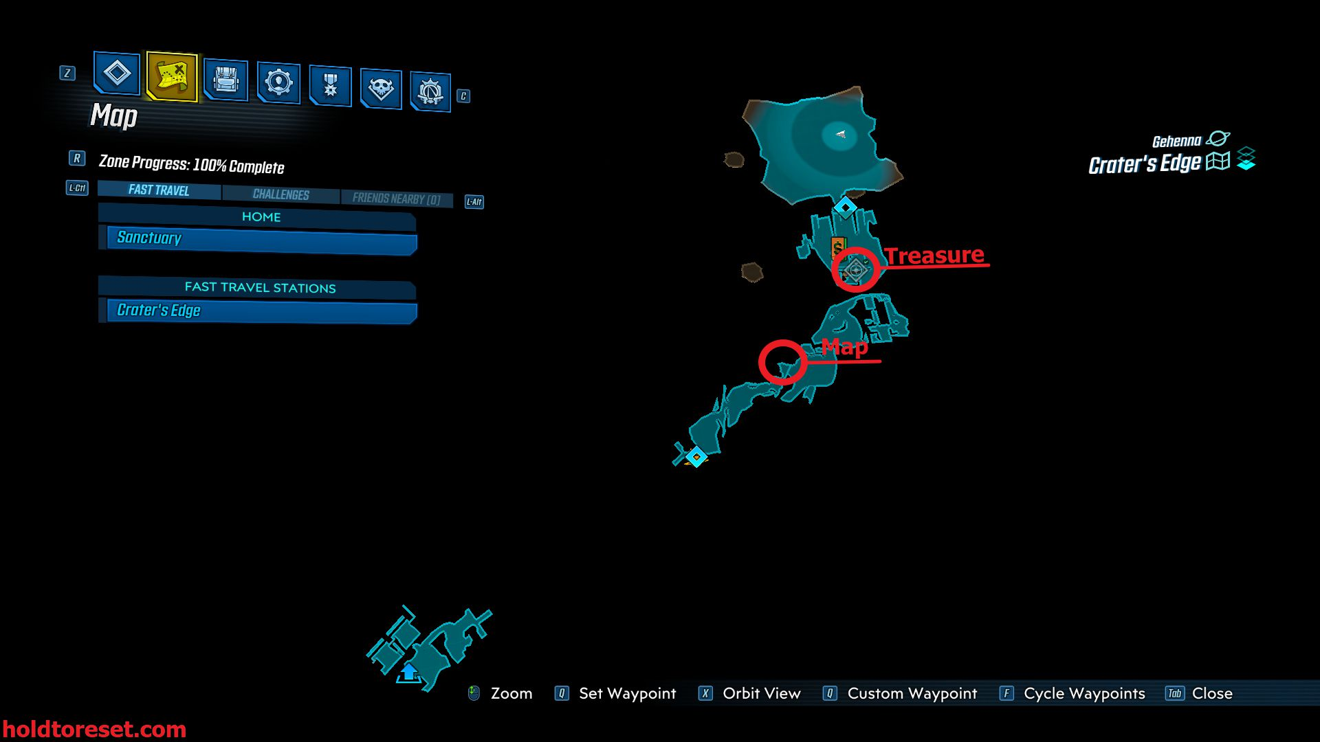 Image showing a map of the locations of the Good Prospects map and treasure locations for the Crater's Edge zone of Borderlands 3.