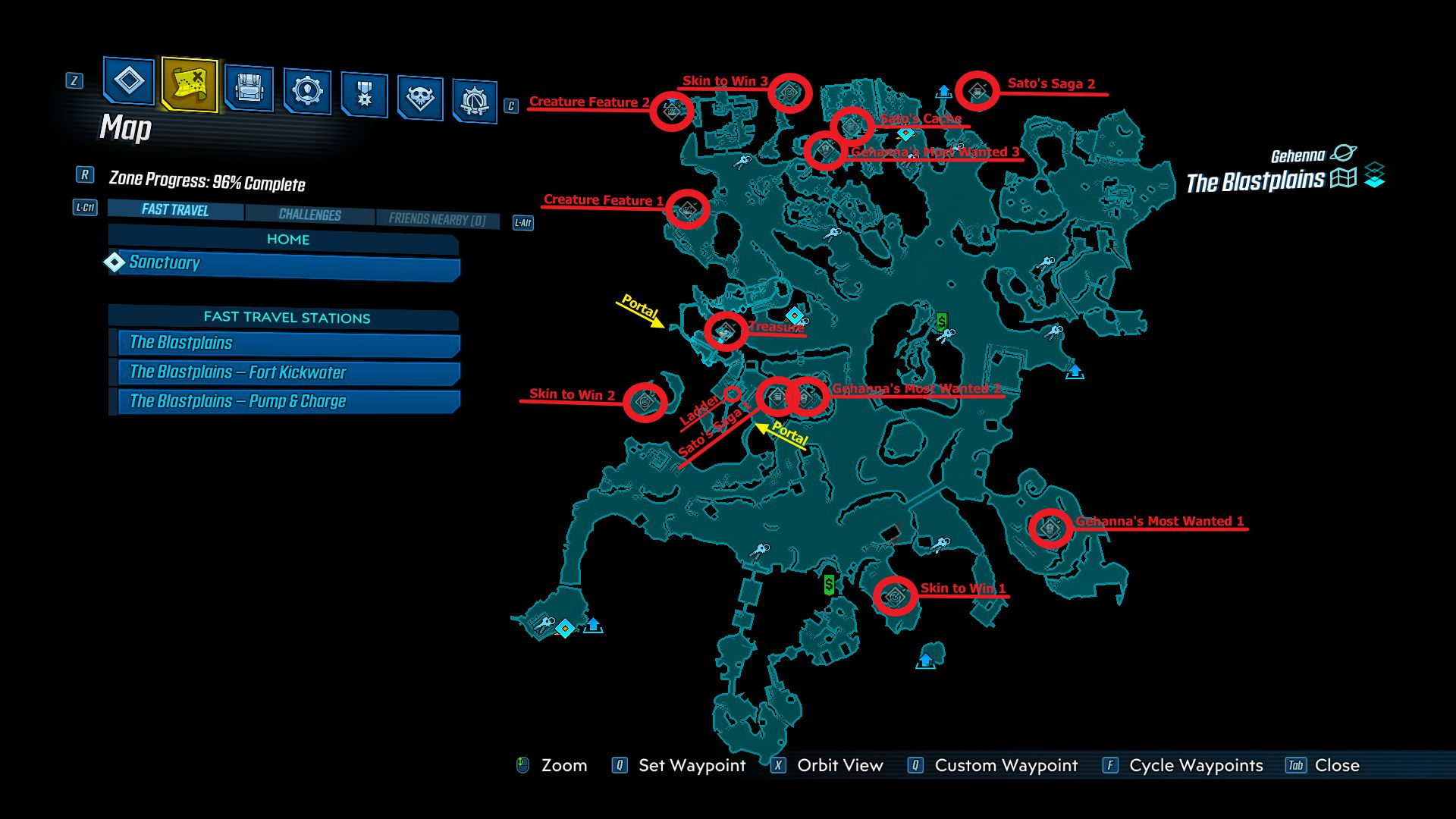 Image showing a map of the locations of The Blastplains Crew Chalenges in the Borderlands 3 Bounty of Blood DLC.