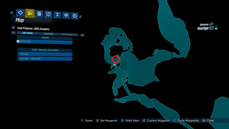 Image showing the map location of the portal that leads to the Developer Room in the Bounty of Blood DLC for Borderlands 3.