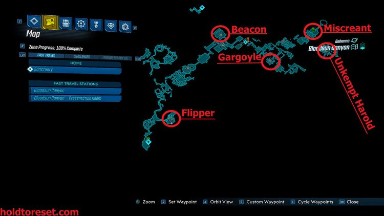 Image showing a map of the Legendary Weapon locations in the Bloodsun Canyon zone of the Borderlands 3 Bounty of BLood DLC.