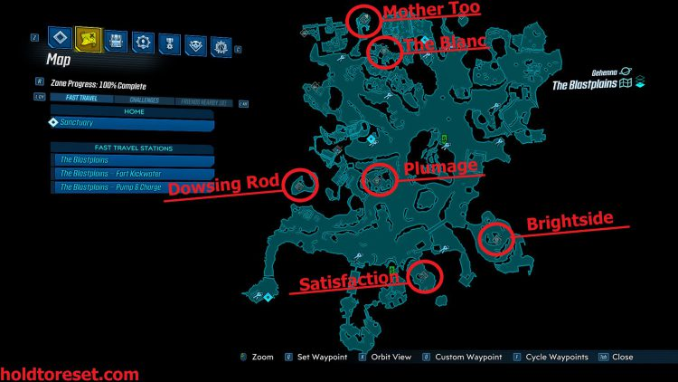 Image showing a map of the Legendary Weapon locations in The Blastplains zone of the Borderlands 3 Bounty of BLood DLC.