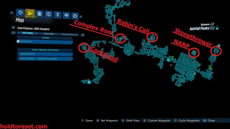 Image showing a map of the Legendary Weapon locations in Ashfall Peaks zone of the Borderlands 3 Bounty of BLood DLC.