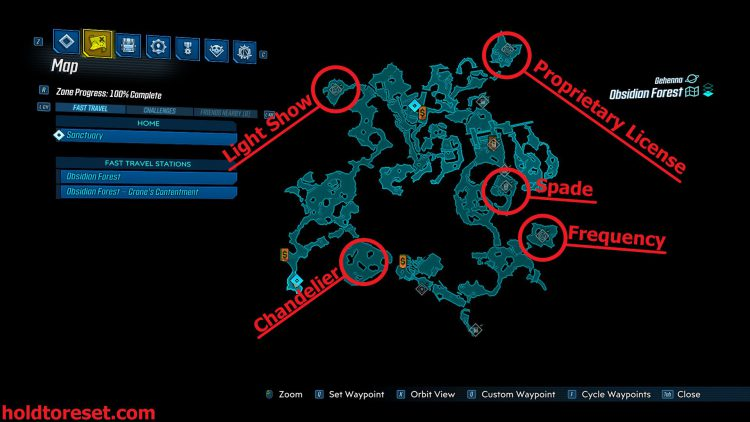 Image showing a map of the Legendary Weapon locations in Obsidian Forest zone of the Borderlands 3 Bounty of BLood DLC.