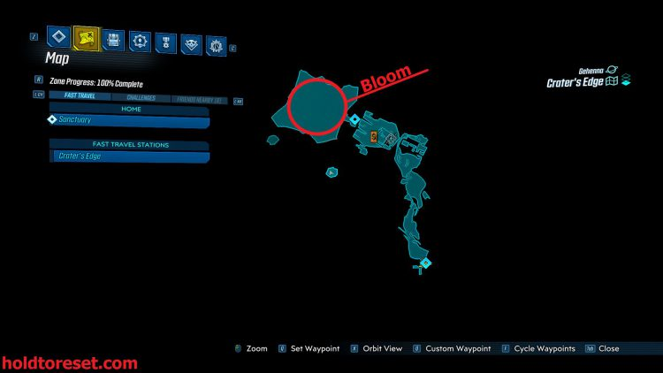 Image showing a map of the Legendary Weapon locations in the Crater's Edge zone of the Borderlands 3 Bounty of BLood DLC.