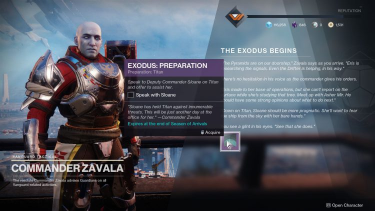 Image showing how to start the Exodus: Preparation quest in Destiny 2.