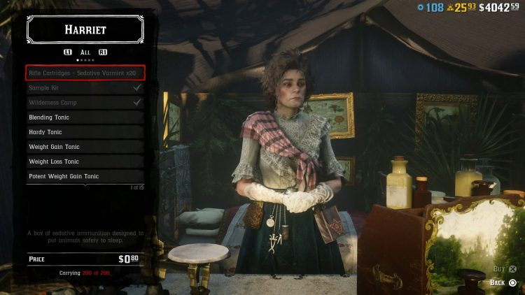 Image showing what items Harriet sells in Red Dead Online.
