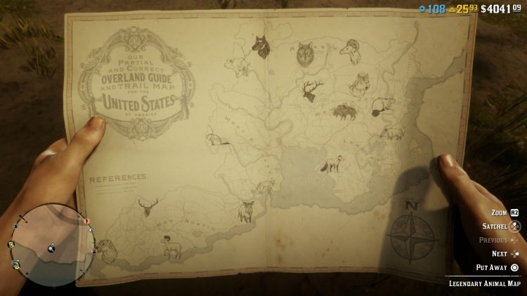 Image showing the Legendary Animal Locations Map RDO.
