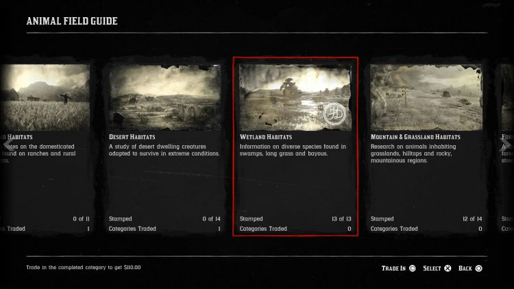 Image showing the Wetland Habitat category in Red Dead Online.