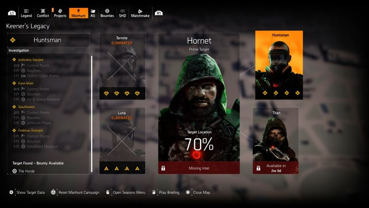 Image showing the manhunt screen on Huntsman in The Division 2.