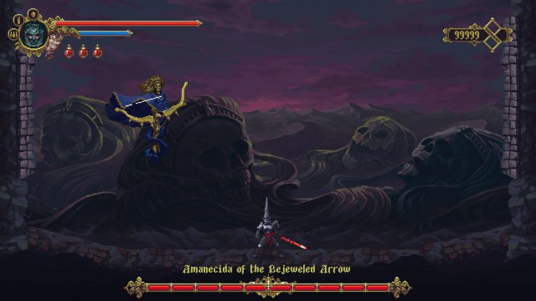 Image showing the Amanecida of the Bejeweled Arrow boss in Blasphemous DLC.
