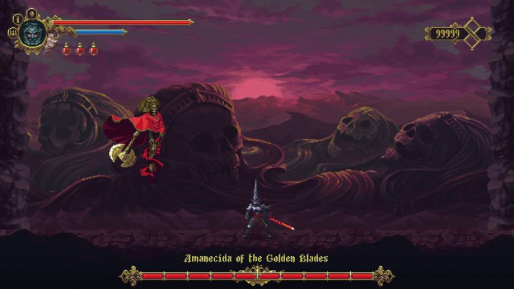 Image showing the Amanecida of the Golden Blade boss in Blasphemous DLC.
