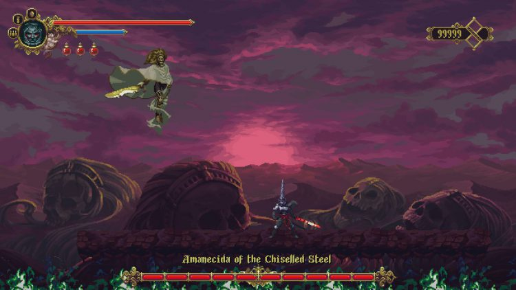 Image showing the Amanecida of the Chiseled Steel boss in Blasphemous DLC.