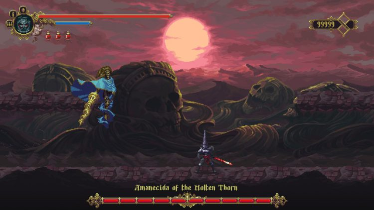 Image showing the Amanecida of the Molten Thorn boss in Blasphemous DLC.