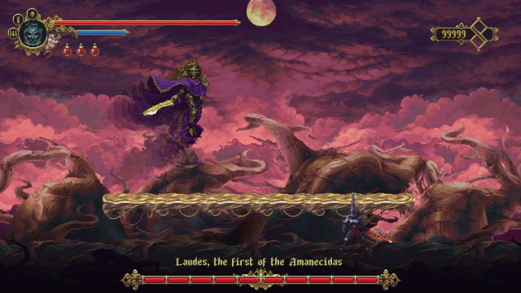 Image showing Laudies, the first of the Amanecidas boss in Blasphemous.