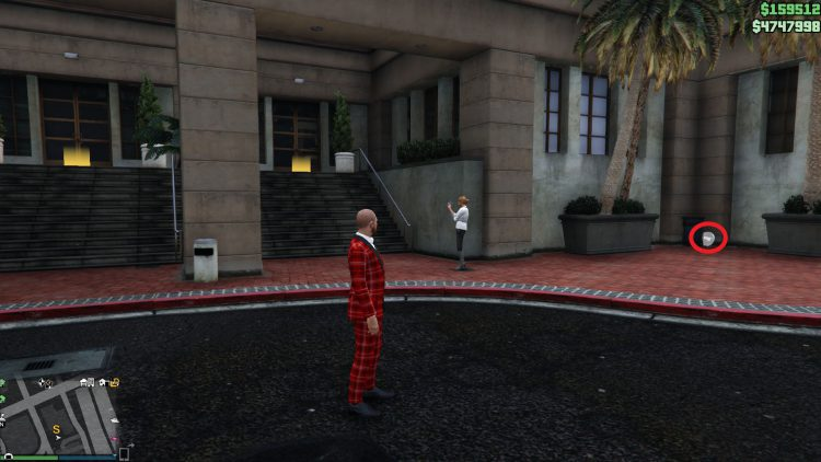 Image showing the location of the prop outside Solomon's Office in GTA Online.